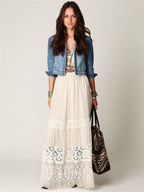 how to wear denim jackets with maxi skirts