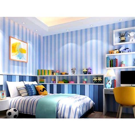 jual wallpaper sticker dinding motif garis biru   cm