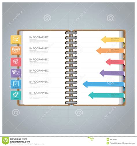 notebook design template business infographic with ring notebook arrow bookmark