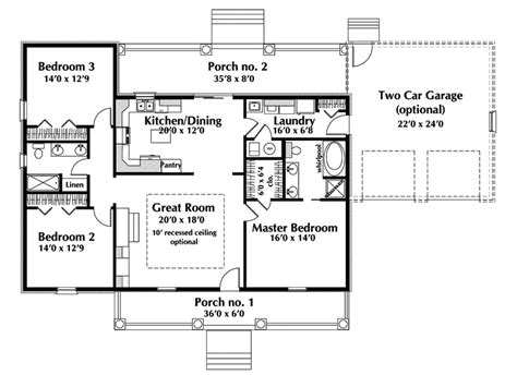 One Story Floor Plan One Story Ranch House Plans Country House Plan Floor 028d 0075 House Plans And More