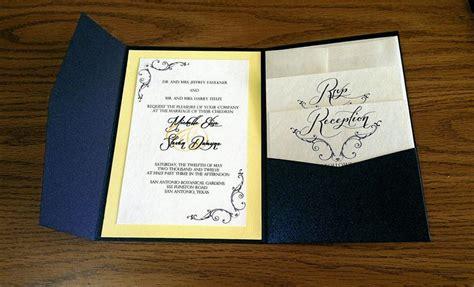 navy blue yellow silver wedding invitation navy blue and yellow pocket fold wedding