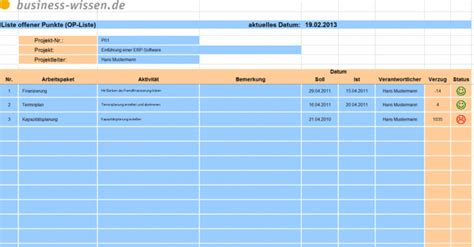 offene punkte liste fuer das projektmanagement variante ii