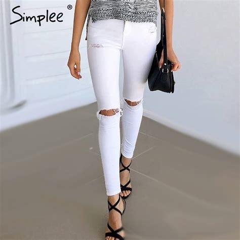 Celana Jeging Wanita List Hitam White Black buy grosir lubang hitam putih from china lubang