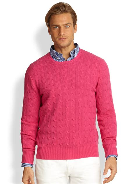 Sweater Polos lyst polo ralph cableknit sweater in pink for