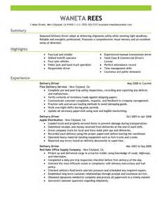 Delivery Driver Sle Resume by Delivery Driver Resume Exles Transportation Resume Sles Livecareer