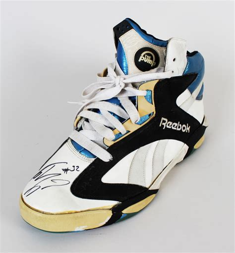 shaquille o neal basketball shoes shaquille o neal magic worn signed rookie shoe jsa