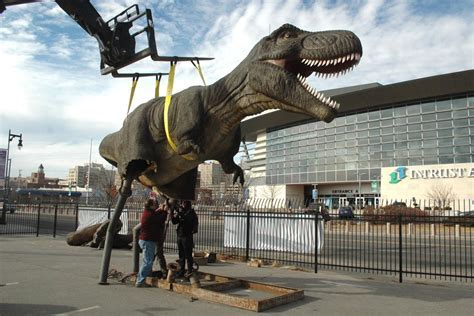 Dinosaur model arrives in area to promote Derby park