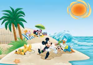 Relaxing Wall Murals 7 disney mickey mouse and friends on the beach wallpaper