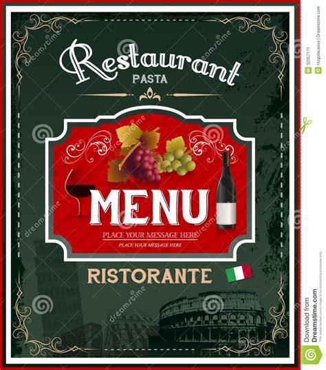 design poster menu vintage italian restaurant menu and poster design stock