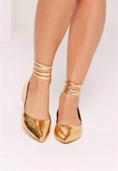 next flat shoes high shine lace up flat shoes gold missguided