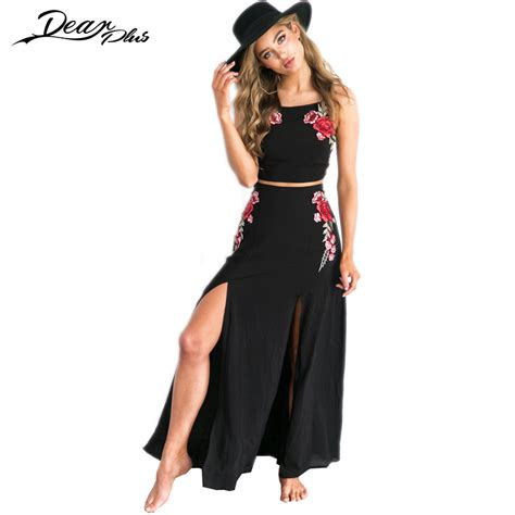 floral embroidery maxi skirt suit crop top and
