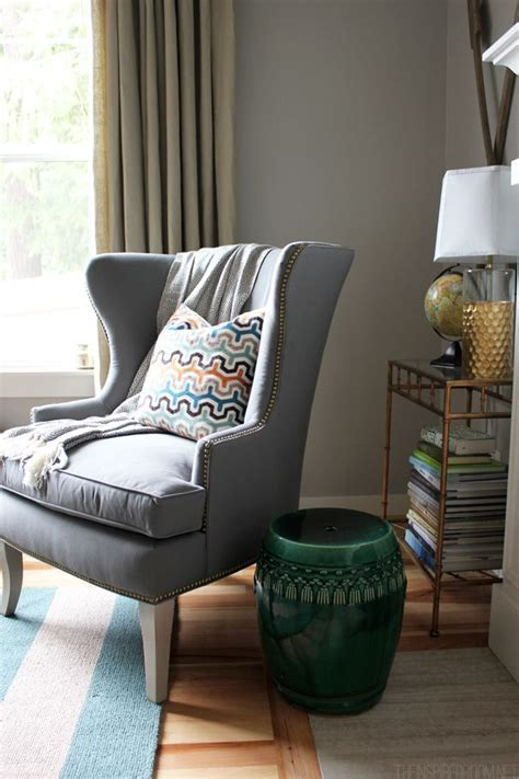 Gray Wingback Chair Design Ideas Decorating With Pattern And Texture The Inspired Room The Wide Stripes Would Work When I