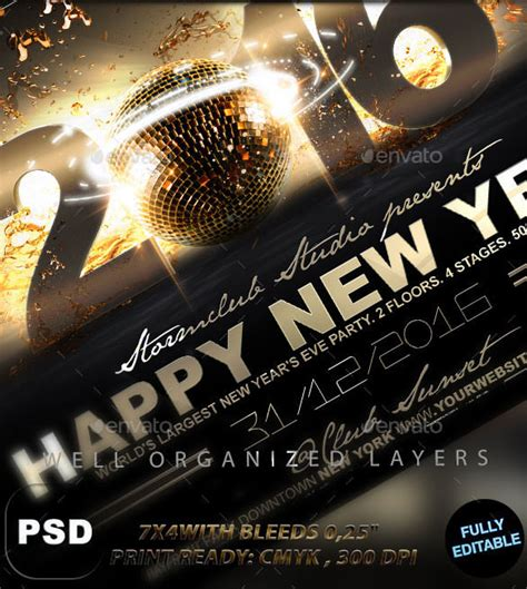 free new years flyer template 25 new year flyer templates 2016 free psd eps
