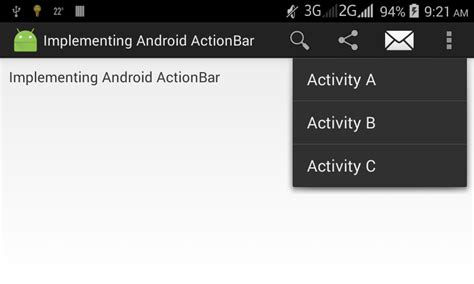 android menu layout tutorial android action bar tutorial and exle with option menu
