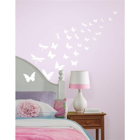 cheminee electrique 213 stickers phosphorescents papillons libellules