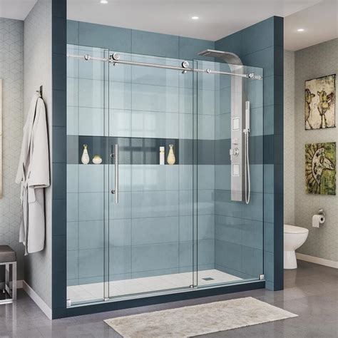 Stainless Steel Shower Doors Shop Dreamline Enigma X 68 In To 72 In W Frameless Brushed Stainless Steel Sliding Shower Door