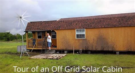 tour of an grid solar cabin home design garden
