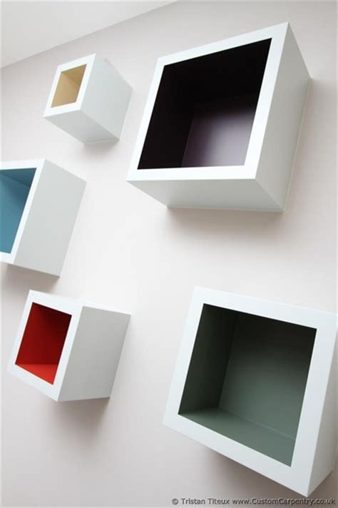 Colourful Square Floating Shelves Contemporary London Square Floating Shelves