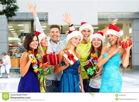 happy people with christmas gifts stock photo image