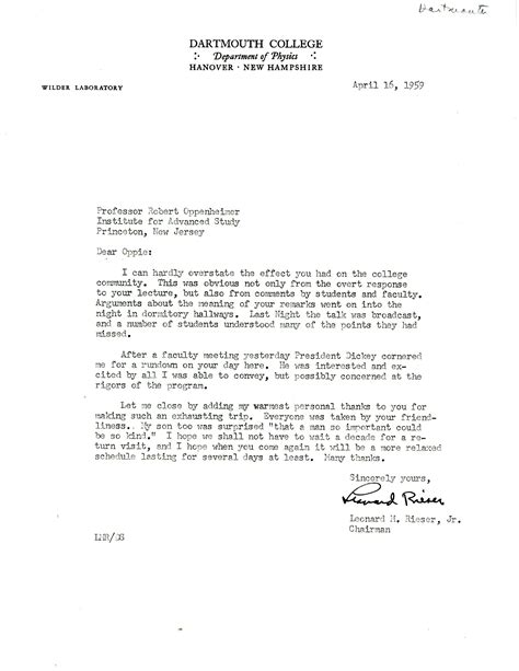 Princeton Acceptance Letter Yes Letter From Leonard Rieser Jr Dartmouth College To Robert Oppenheimer Princeton