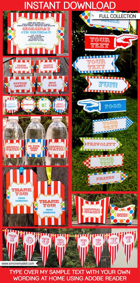 free printable circus party decorations carnival party printables circus party printables