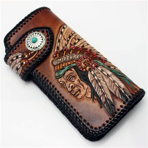 Mens Handmade Leather Wallets - buy fashion clothing handmade tanned leather carved