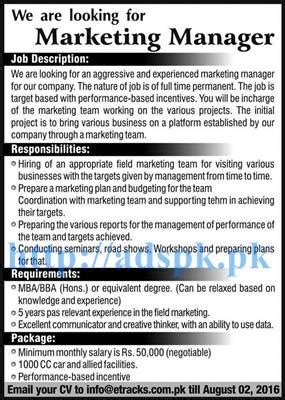 Marketing Manager Mba by New Excellent Etracks Eco Track Pvt Ltd Islamabad