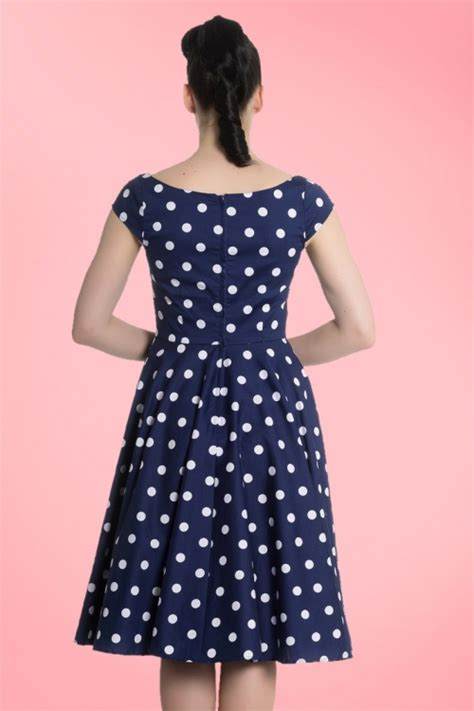swing dress 50s 50s nicky polkadot swing dress in navy and white