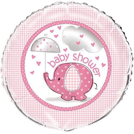 foil elephant baby shower balloon   pink ct