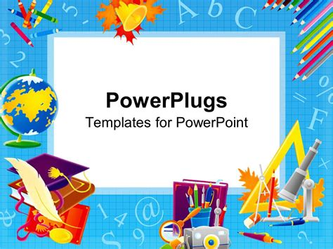 templates for powerpoint com powerpoint template school related items spread on a