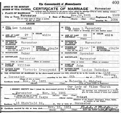 Massachusetts Marriage License Records Marriage Massachusetts