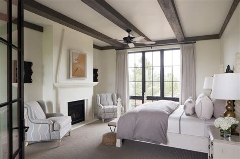 master bedroom ideas hgtv master bedroom features exposed beam ceiling gray accents