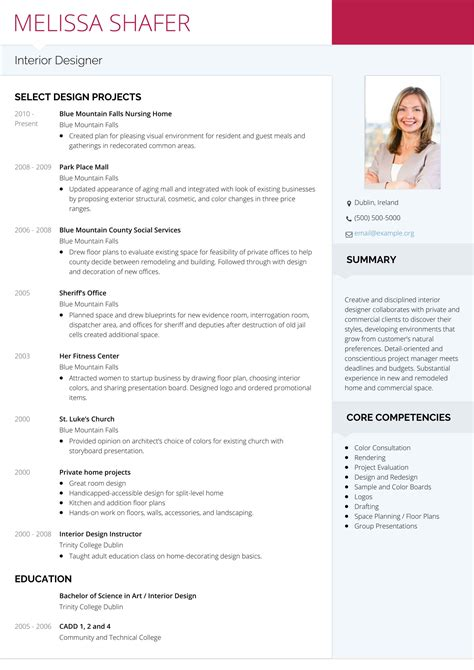 resume for interior design marvellous d interior designer resume