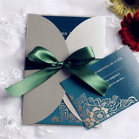emerald wedding invitations emerald green vintage gray pocket wedding invitations ewpi104 as low as 1 69