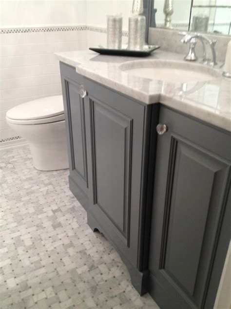 Grey Bathroom Vanity Cabinet Gray Bathroom Vanity Transitional Bathroom Courthouse Contractors