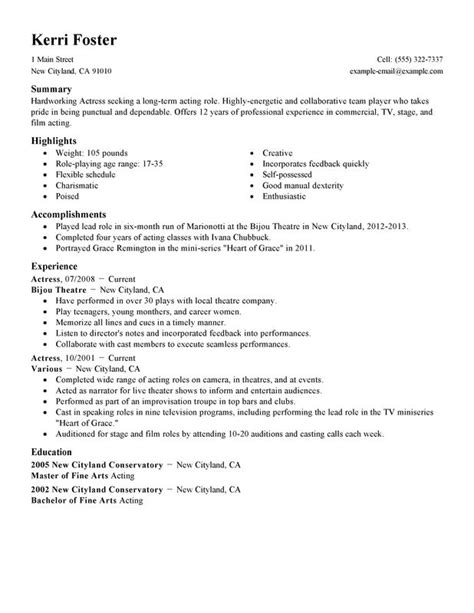 Resume For Actors by Actor Resume Exles Free To Try Today