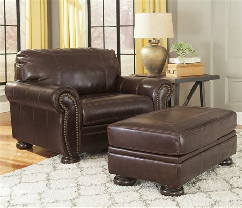leather chair and a half with ottoman ashley signature design banner traditional leather match