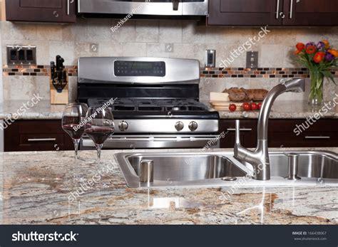 Modern Luxury Kitchen With Granite Countertop Modern House New Contemporary Luxury Custom Stock Photo 166438067