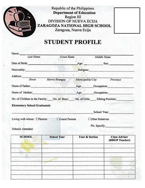 student profile template student profile