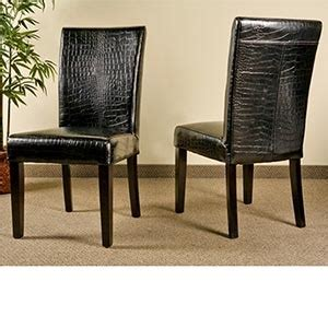 Costco Leather Dining Chairs Croco Bicast Leather Back Chair 2 Pk Crocodile Embossed Dining Chair