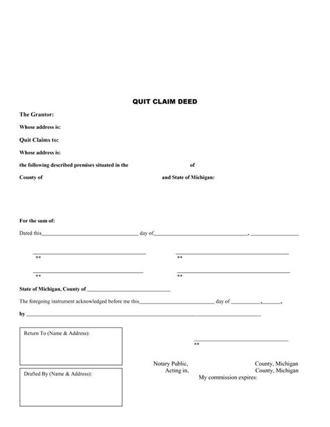 46 Free Quit Claim Deed Forms Templates Template Lab Quit Claim Deed Template Michigan