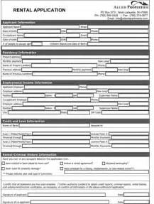 rental application form real estate forms