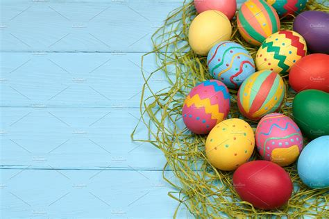 colorful eggs easter eggs painted colorful wood background