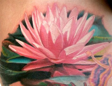 pink lotus tattoo flower images designs