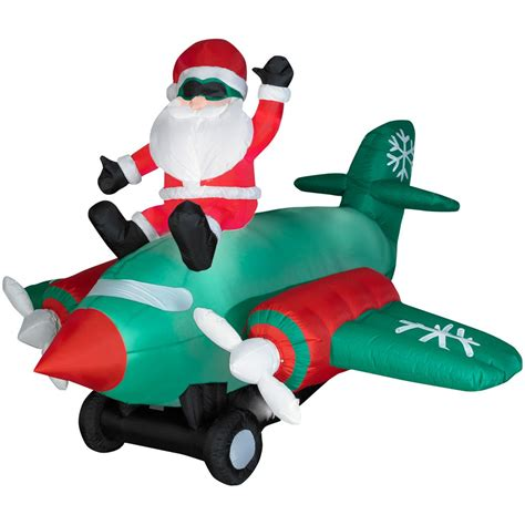 christmas yard blowups gemmy animated airblown santa sitting on prop airplane large seasonal