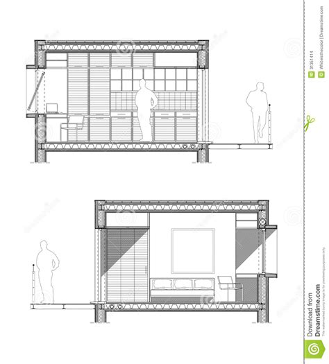 technical drawing section technical drawing of a section of a student room stock