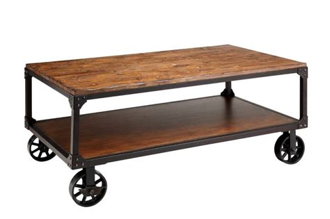steam style vintage industrial hardwar coffee table