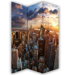 New York Room Divider Screen New York Skyline Canvas Privacy Screen Folding 3 Panel Room Divider