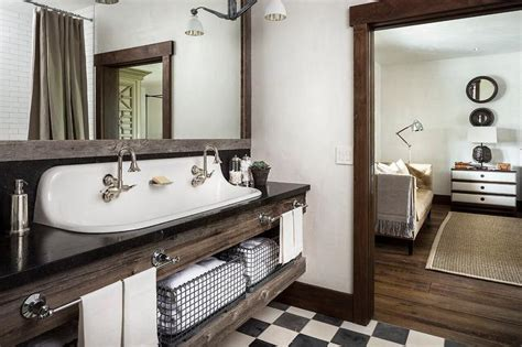 trough style bathroom sink country style bathroom with reclaimed wood sink vanity