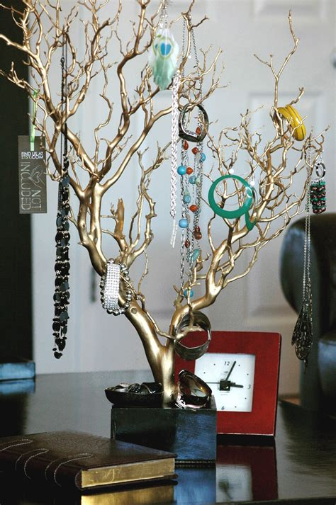 make a jewelry tree 30 gold painted jewelry tree jewelry organizer west